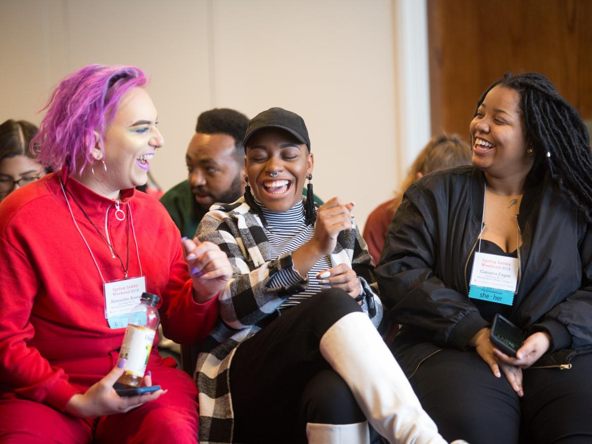Young adults at Spring Lobby Weekend 2019 laugh together