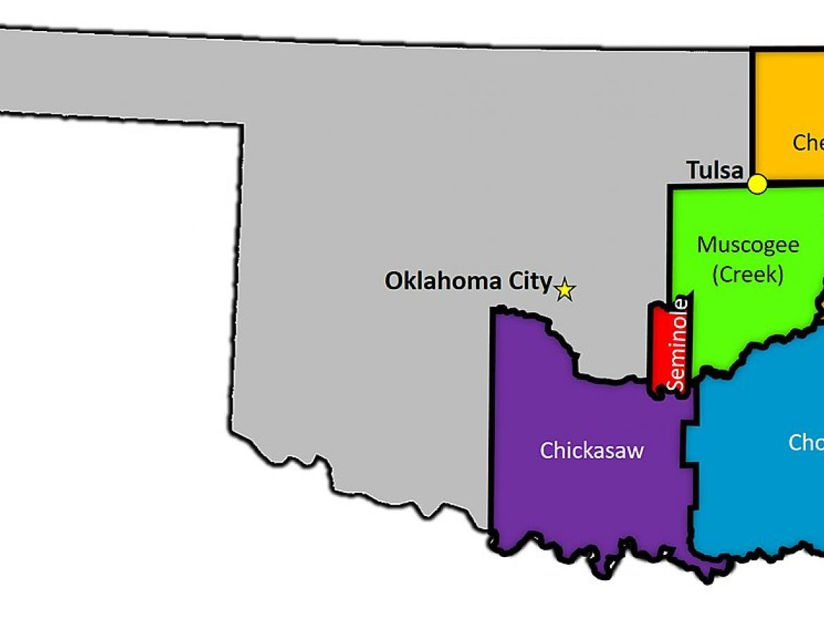 Map of five tribal reservations in eastern Oklahoma.