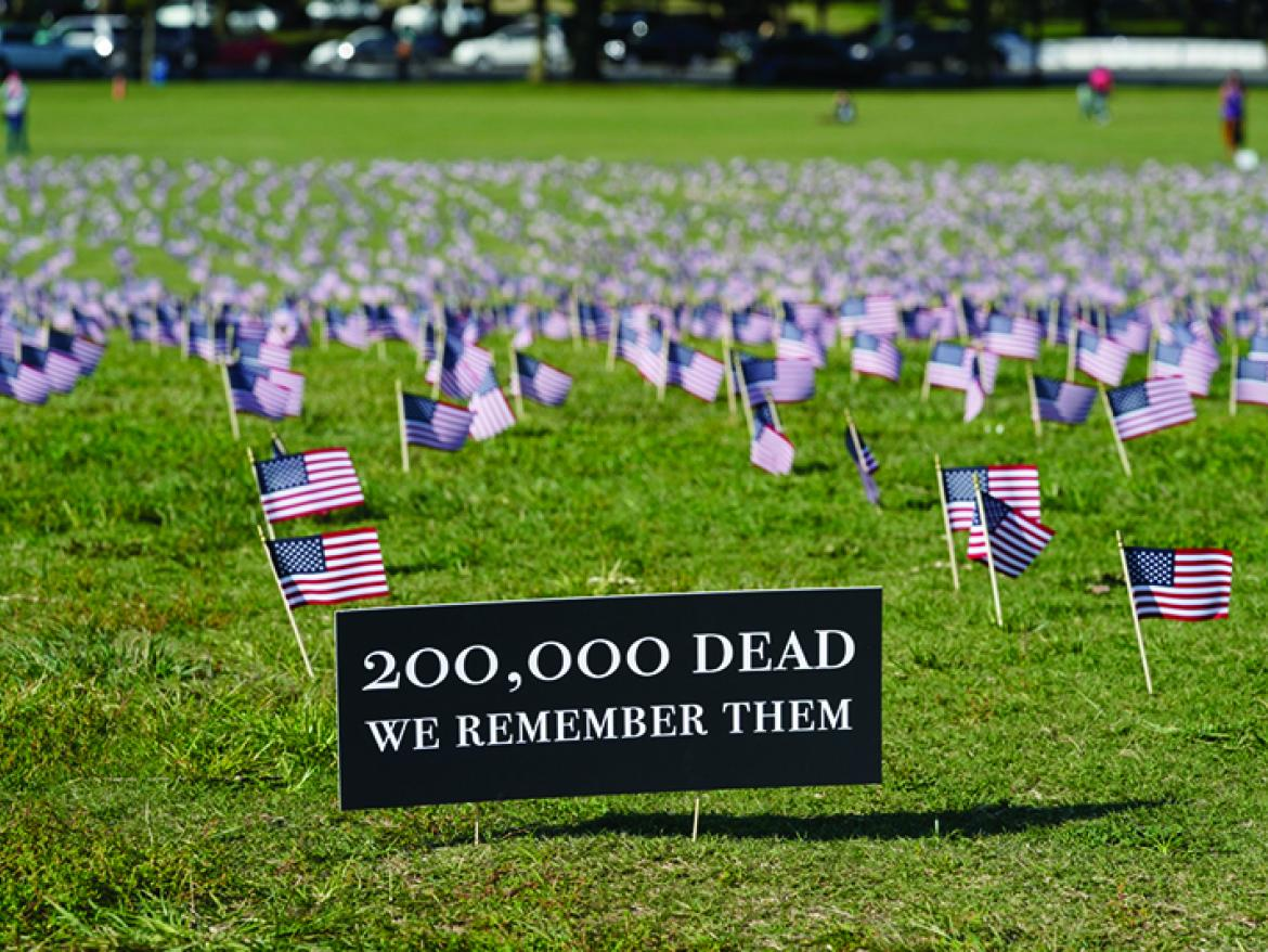 20,000 flags were set up at the COVID–19 Memorial Project's Interfaith Memorial.
