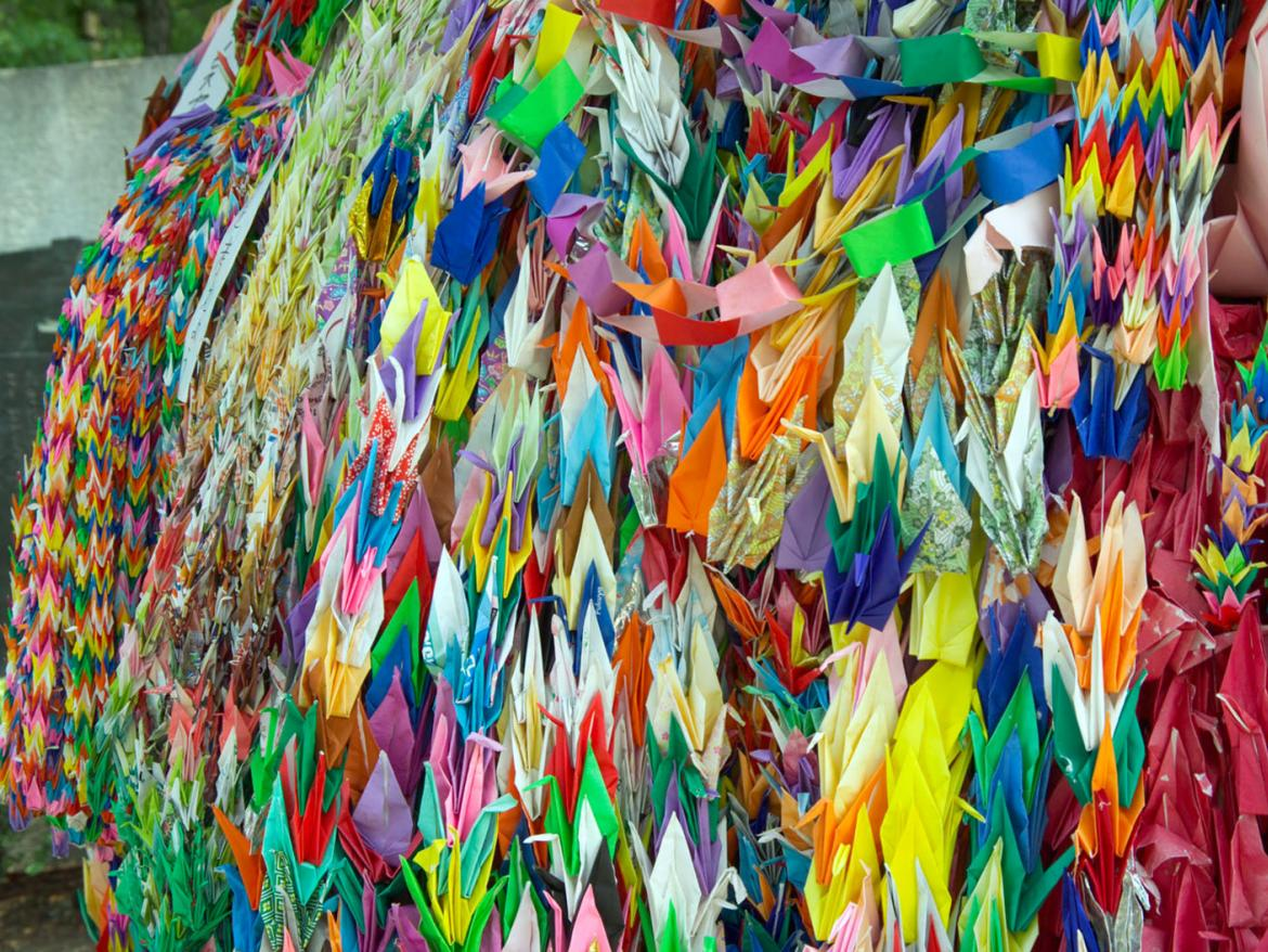 Paper cranes in Hiroshima Peace Memorial Park