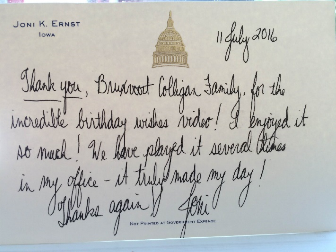 Ernst Thank-You Note to Waterloo AT