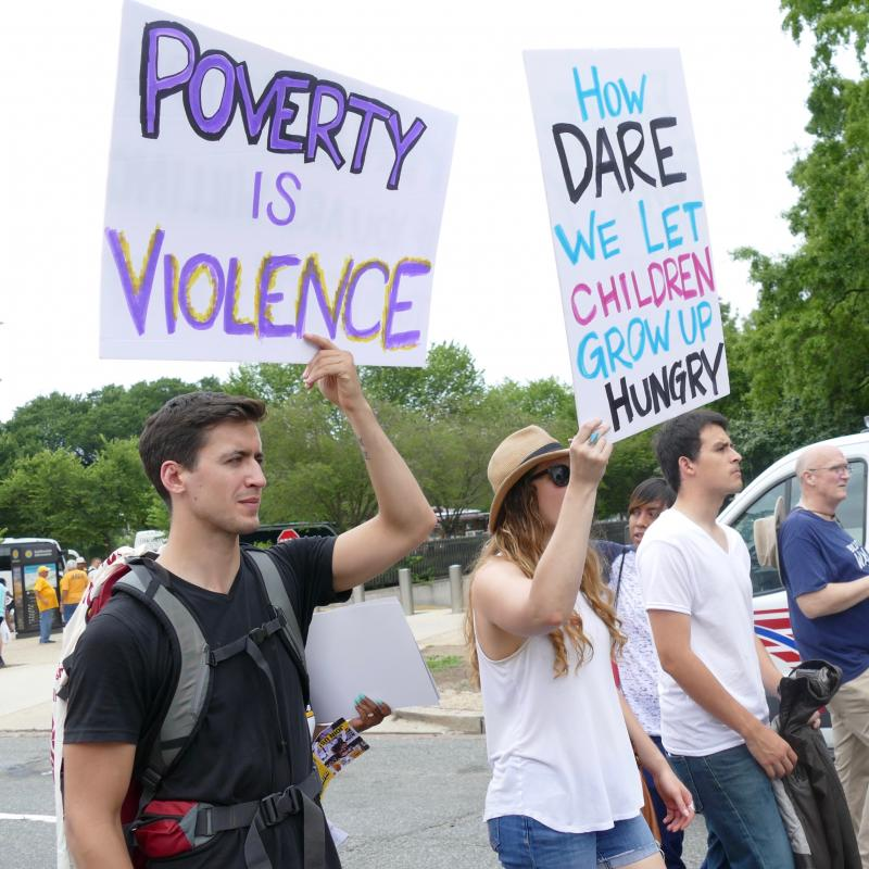 """Poverty is Violence"" sign at the Poor Peoples Campaign March"