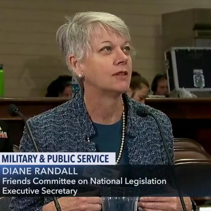 Diane Randall testifying about selective service and the military draft. April 25, 2019