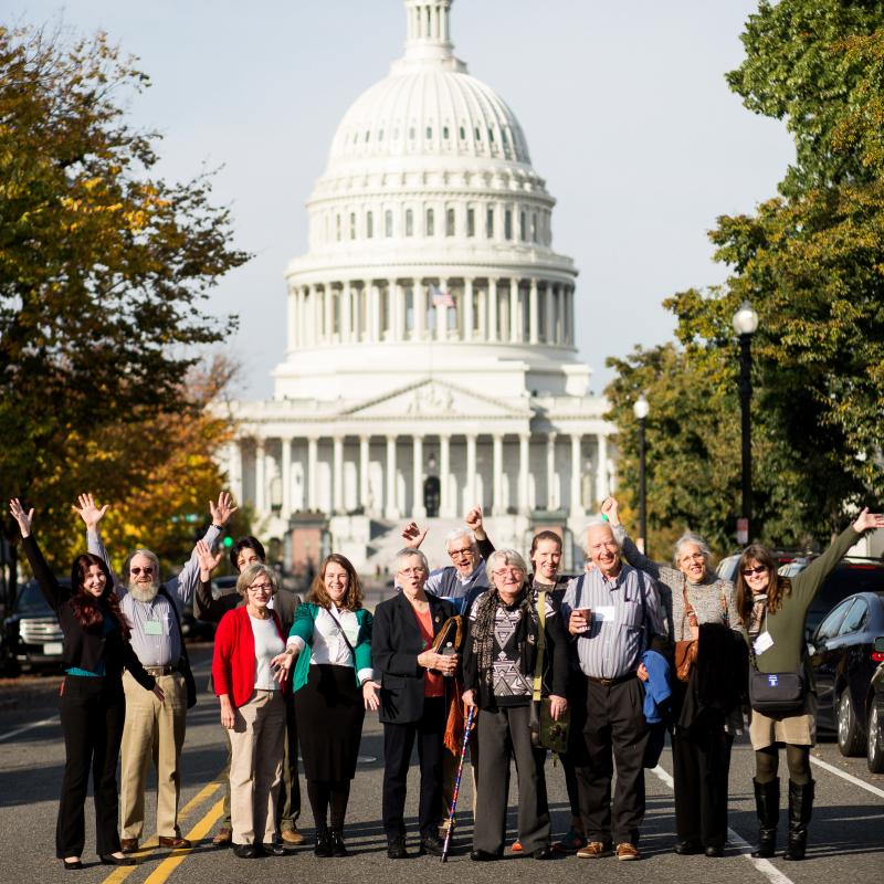People lobbying on Capitol Hill as part of Quaker Public Policy Institute.