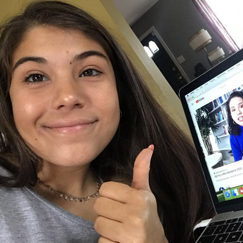 Olivia Bravo engaged in a virtual lobby visit during Spring Lobby Weekend 2020