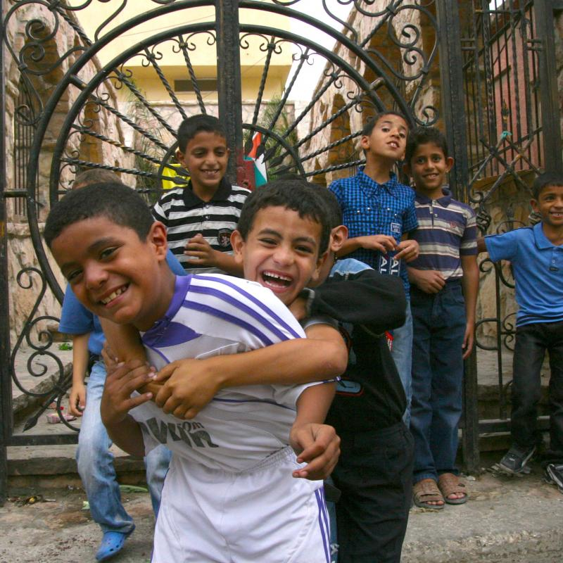 Group of children playing West Bank
