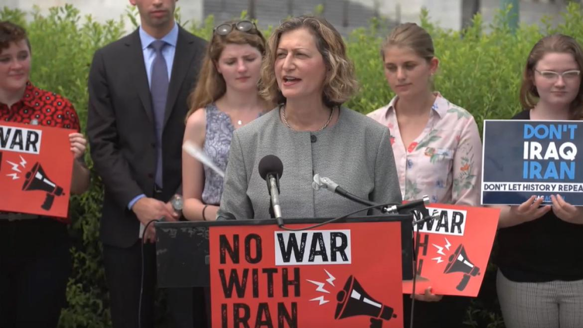 Diana Ohlbaum speaking at No War with Iran press conference