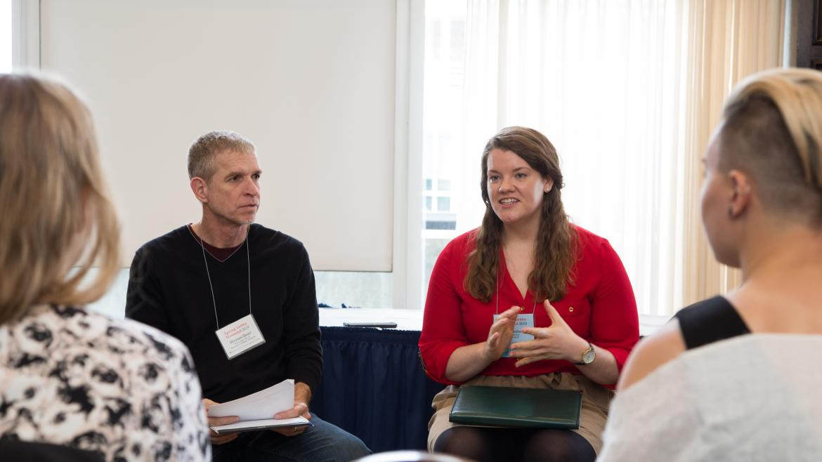 Students engage in conversation during Spring Lobby Weekend